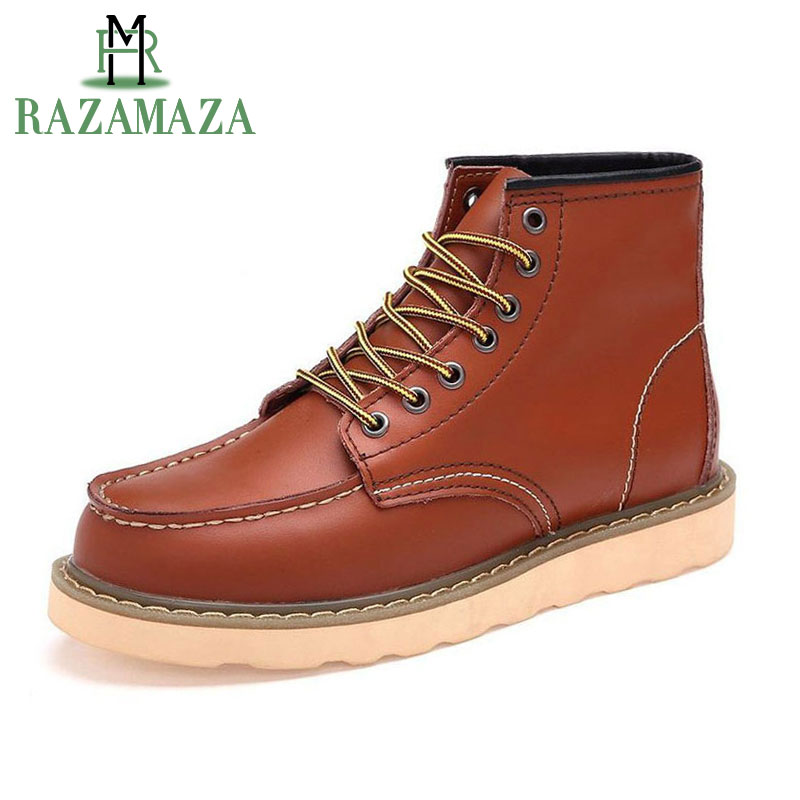 ZALAVOR Men Real Leather Ankle Boots British Lace Up Platform Boots Winter Plush Fur Warm Work Outdoor Shoes Male Footwear