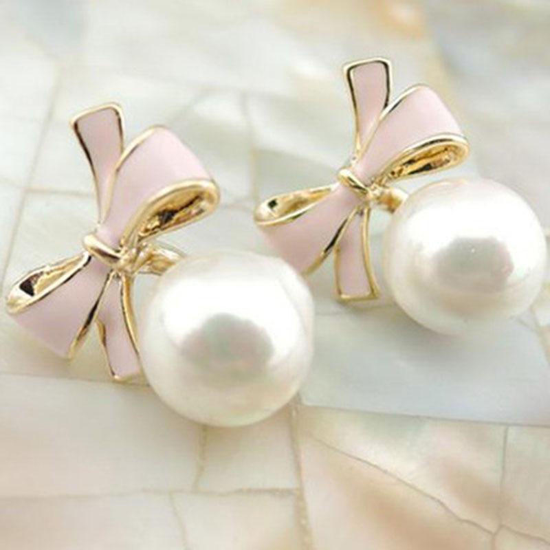 JIOFREE Earring Clip-On Simulated-Pearl-Charm No-Pierced Korea-Style Bowknot Women