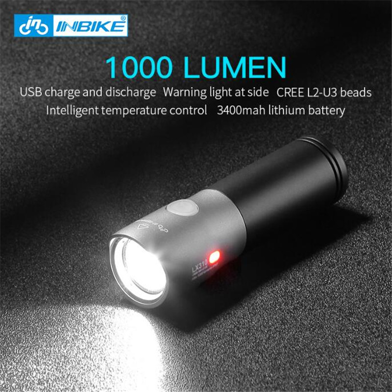 INBIKE 1000 Lumen Bicycle Light USB Rechargeable Riding Flashlight Bike Lamp Led Mountain Bike Equipment Cycling Accessories 310 new safurance 15w led infrared pir sensor ceiling mount lamp light ac110 265v for room building automation home security