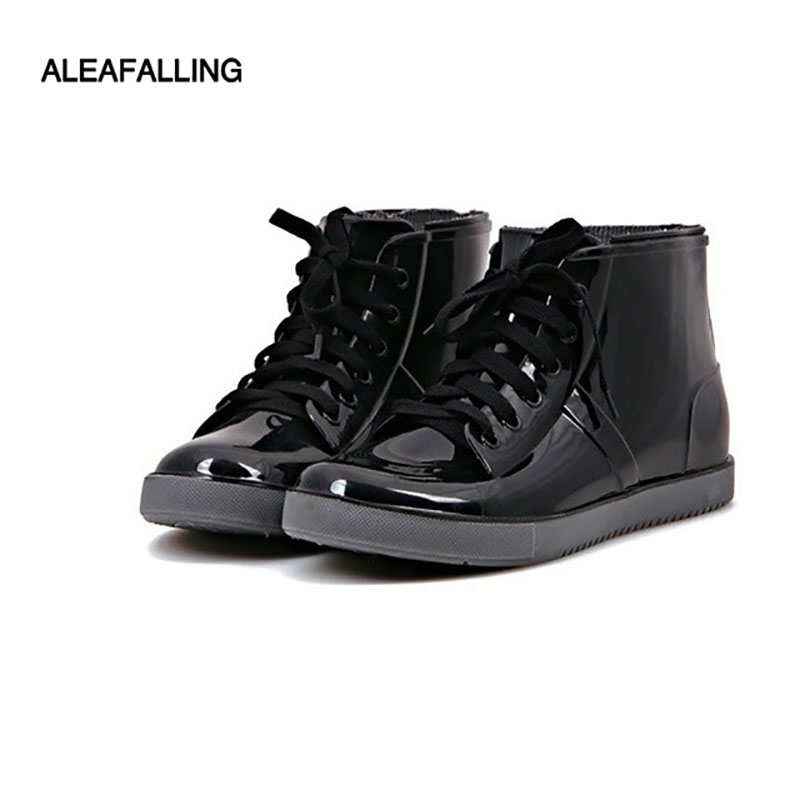 Aleafalling Ankle-Boots Shoes Woman Rain Water-Rubber Flat Fashion New-Arrival Cross-Tied-Botas