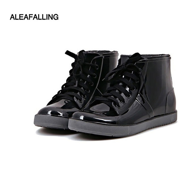 Aleafalling  Fashion New arrival sewing waterproof flat with shoes woman rain woman water rubber ankle boots cross-tied botas