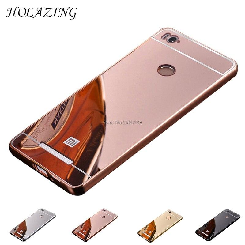 99ef150f3 HOLAZING 2 в 1 съемная металлический Алюминий бампер для Xiaomi Redmi 3  S/Redmi3 Pro с зеркалом назад Твердый переплет