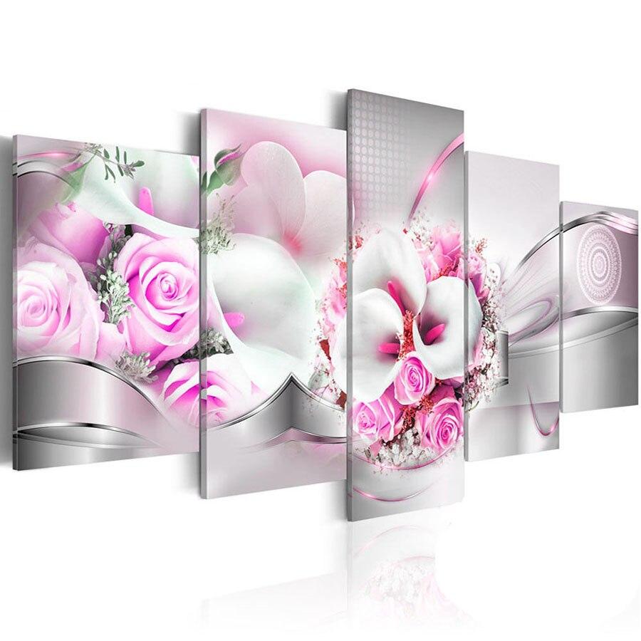 Rose brodée en diamant de 5 pièces   Fleur dorchidée rose 5d, peinture en diamant, point de croix, mosaïque complète avec des strass, décor de maison multi-images, bricolage