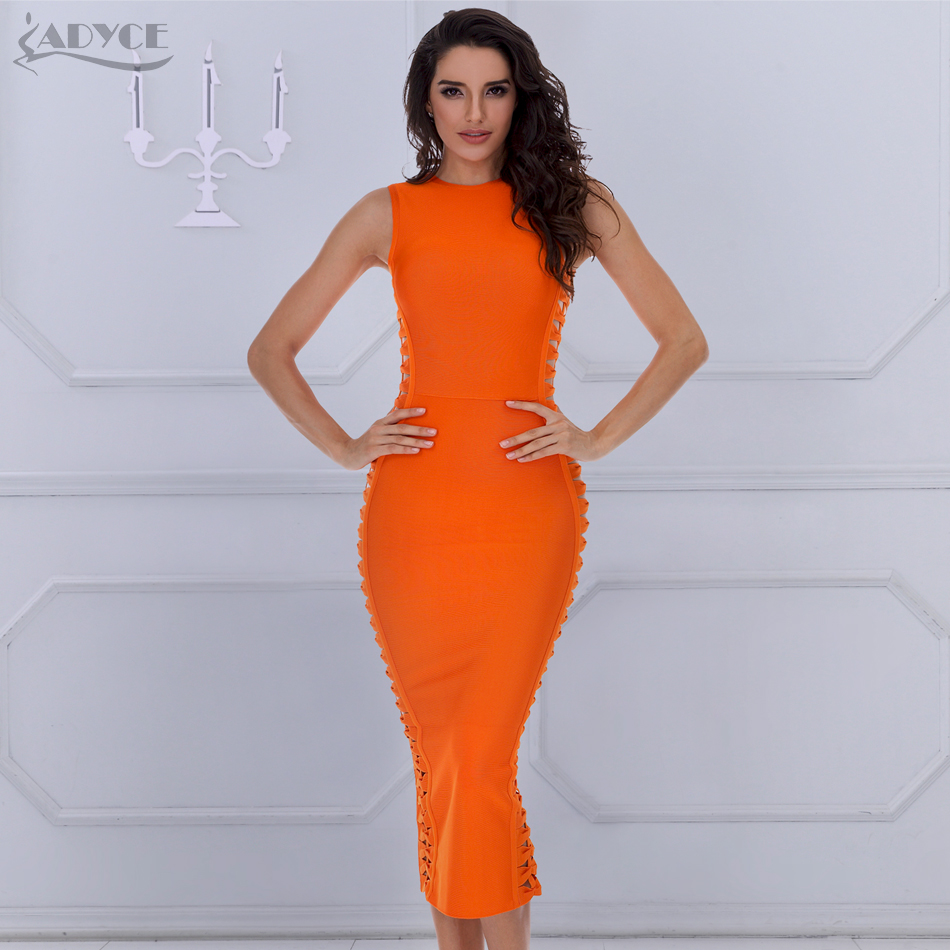 ADYCE 2018 New Summer Elegant Bandage Dress Kvinnor Sexy Celebrity Party Dress Bodycon Runway Klänning O-Neck Hollow Out Club Vestido