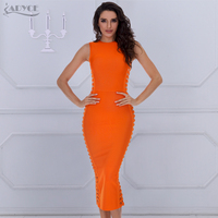 2016 New Arrival Orange Sexy Dress O Neck Lady Hollow Out Summer Sleeveless Evening Dress Party