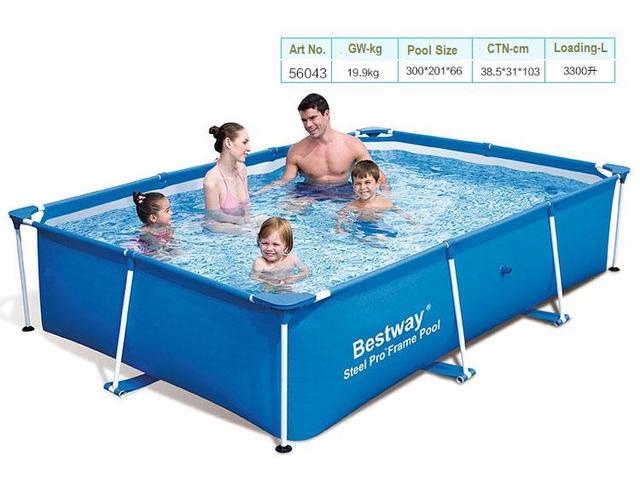 "56424 Bestway 400*211*81cm/157""x83""x32"" STEEL PRO SPLASH FRAME POOL/Large Movable Rectangle Family Splash Frame Swimming Pool/"