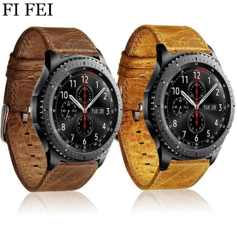FI FEI Retro style Leather Watch strap Band for Samsung Gear S3 Frontier band For Gear S3 Classic Watchband 22mm bracelet crested genuine leather strap for samsung gear s3 watch band wrist bracelet leather watchband metal buck belt