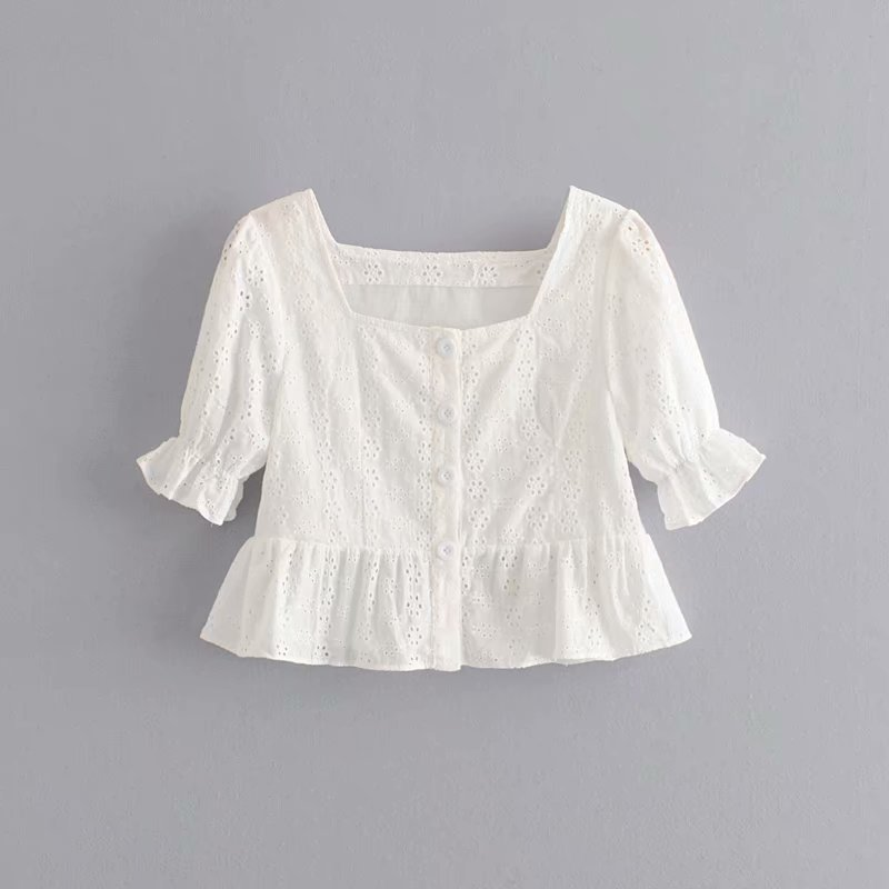 Hot sale Ida 40-6223 European and American fashion hollow embroidery jacket