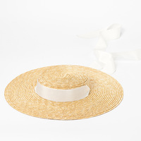Hat Summer Beach Sun Hat for Women Ladies Wheat Straw Hat with Ribbon Ties