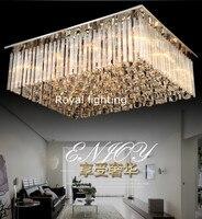 Холл гостиницы большой прямоугольник кристалл потолочный светильник led люстры де Cristal висит свет Гостиная поверхности led
