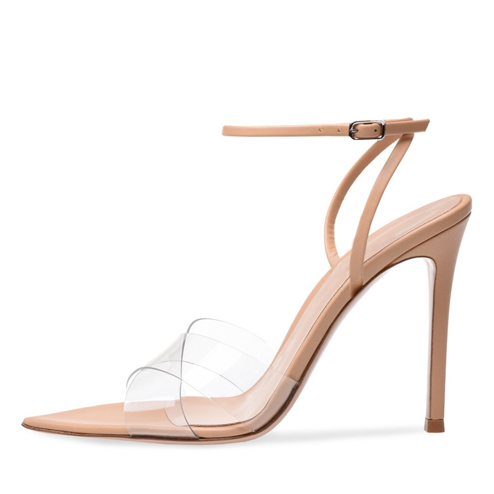 newest 2018 summer Transparent sandals super sexy pointed toe brand design shoes women narrow band high heels sandals ladie shoe