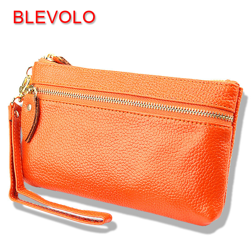 BLEVOLO Women Leather Purses Fashion Long Wallet Candy Color Clutch Wallets Brand Zipper Female Purse Soft Lady Phone Bag Wallet women wallet female 2016 coin purses zipper famous brand designer pu leather lady long clutch wallets hold mobile phone cards