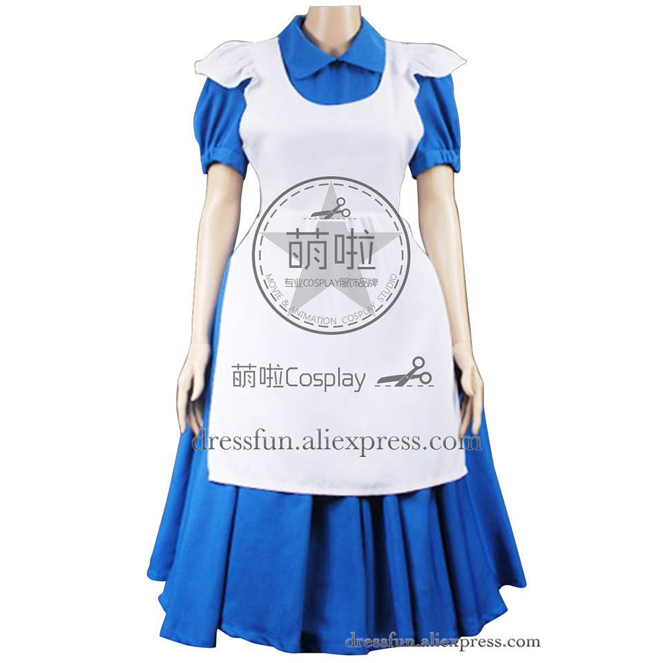 Alice In Wonderland Cosplay Alice Costume Blue Maid Dress Comfortable Uniform Outfits Full Set Suitable Halloween