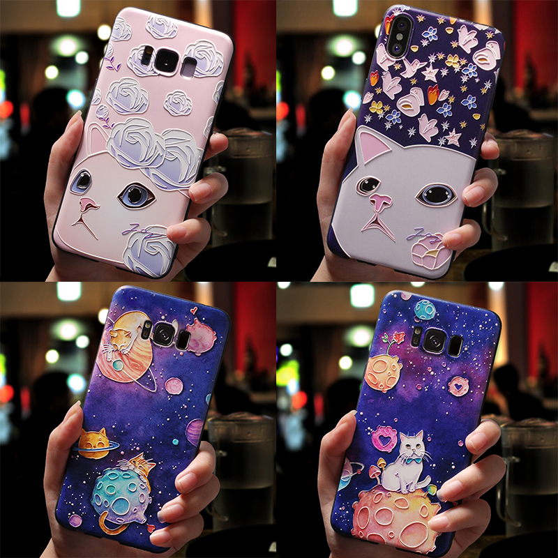 3D Cartoon Cat Emboss Case For Samsung Galaxy S6 S7 Edge S10 Lite S8 S9 Plus A9 A8 A6 Plus A7 2018 Star A3 A5 2017 2016 Case TPU