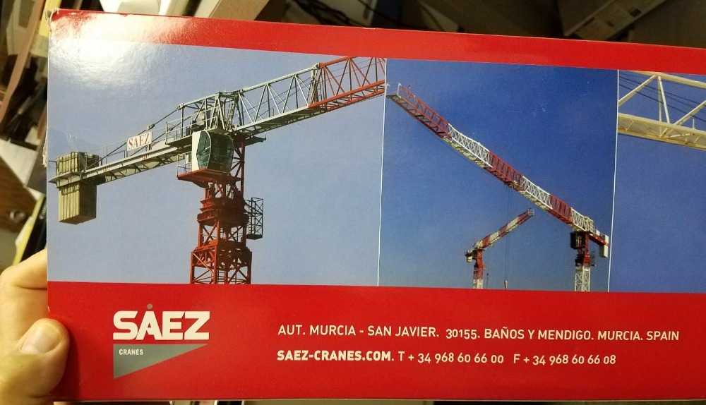 Exquisite Alloy Model ROS 1:87 SAEZ SL-55 Tower Crane Construction Vehicles DieCast Toy Model 80100 For Collection Decoration