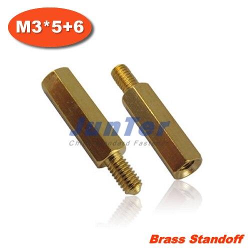 100 pcs/lot entretoise en laiton entretoise M3 mâle x M3 femelle-5mm filetage 6mm