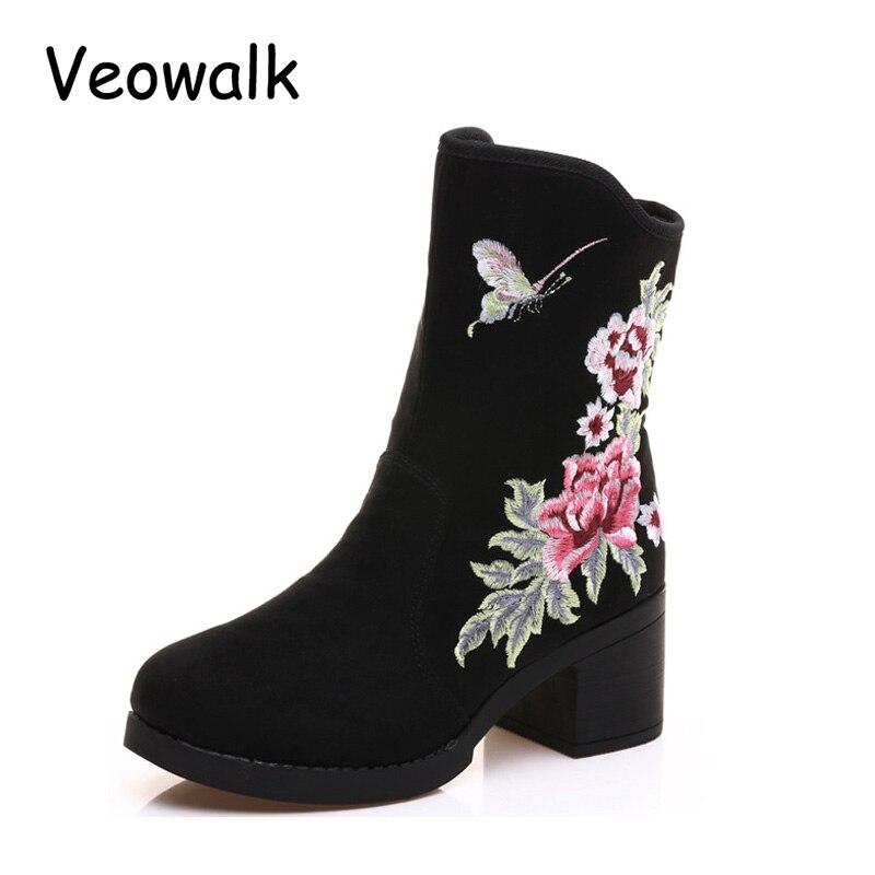 afb07b9a0fb Toile Chaussures Élégantes Chiot Bottes Nouvelle Automne Brodé Noir Bateaux  Bottines Mode Mujer Pour Talon Fleur ...
