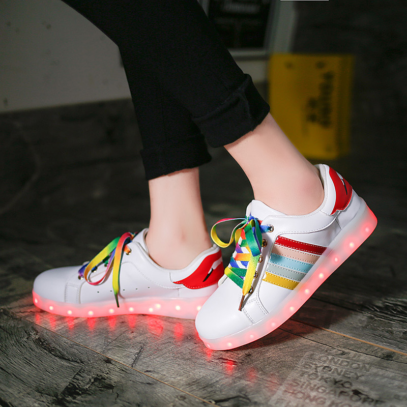 11 Colorful Basket LED Shoes For Adults Women Mens LED Light Up Shoes Chaussure Lumineuse Led Femme Home Glowing Shoe For Unisex