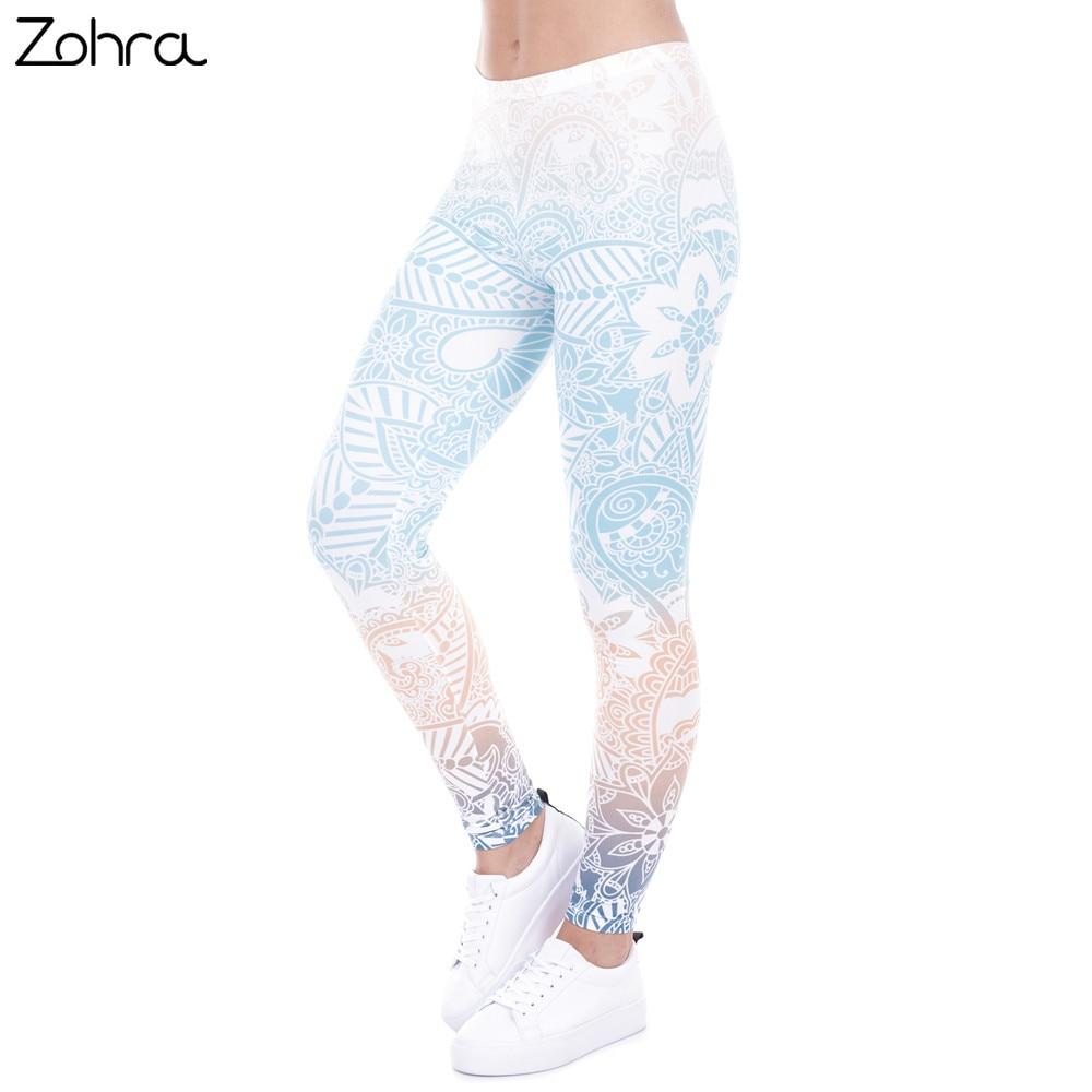 Zohra Brand Hot Sales Leggings Mandala Mint Print <font><b>Fitness</b></font> legging High Elasticity Leggins Legins Trouser Pants for women