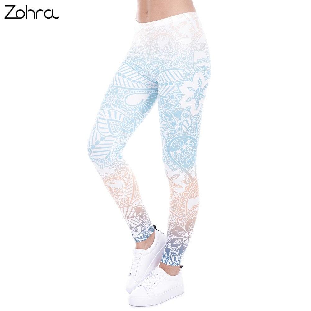 Zohra Marque Ventes Chaudes Leggings Mandala Menthe Imprimer Fitness legging Haute Élasticité Leggins Legins Pantalon Pantalon pour les femmes