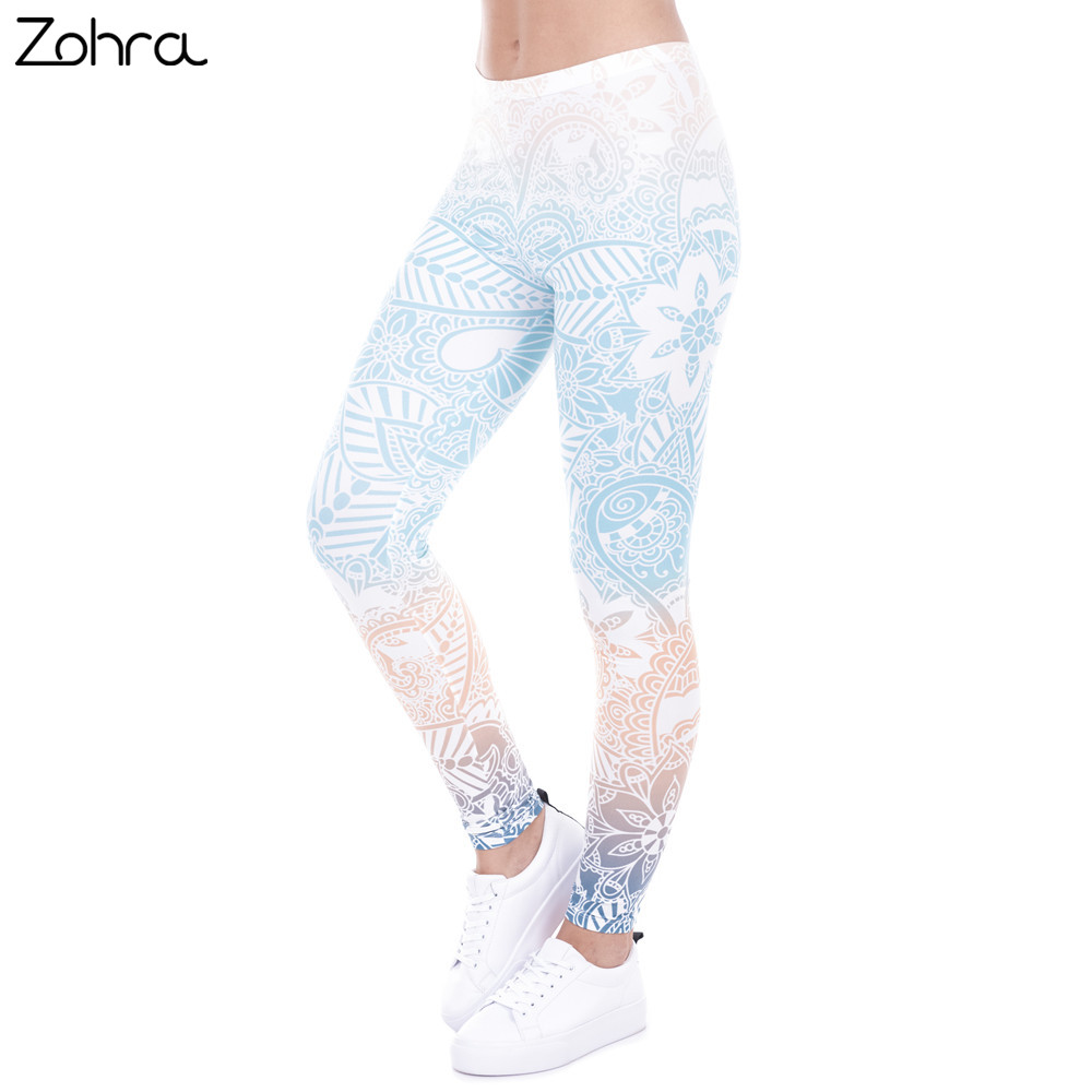 Zohra marca vendite calde leggings mandala menta stampa fitness leggings alta elasticità leggins legins pantaloni pantaloni per le donne