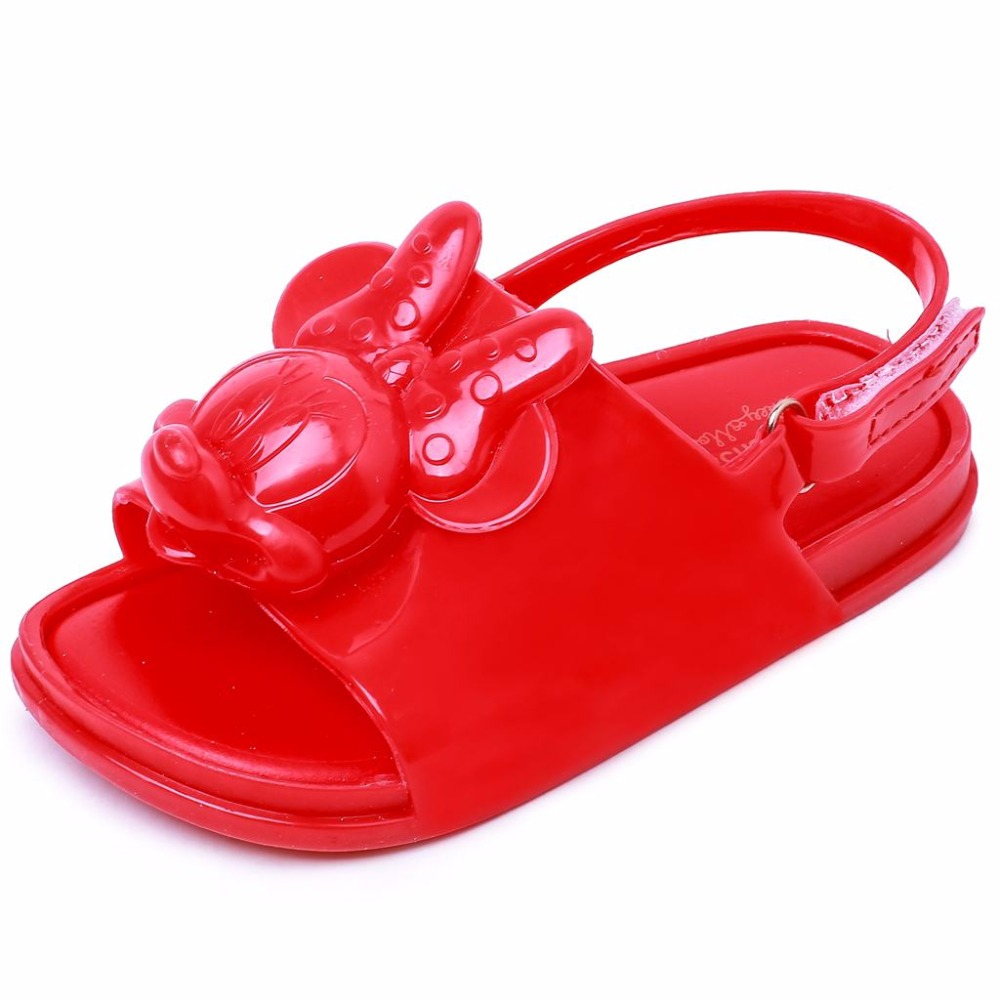 2018 New Melissa Mickey Sandals Jelly Crystal Children Shoes Mickey Minnie Girls Slippers Princess Shoes Beach Sandals