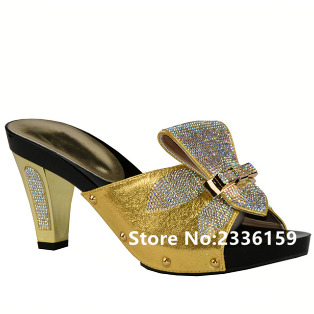 Gold Color Women Slippers Shoes African Wedding Elegant Italian Woman With Stone High