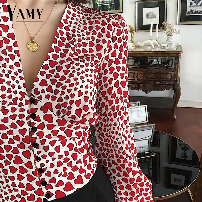 Long sleeve crop top womens tops and   blouses   heart print tunic buttons women   shirts   Korean fashion clothing vintage streetwear
