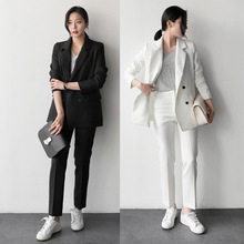 Фотография (2 pieces = coat + pants) new OL career female two suit trousers suit Slim in the long suit thin vertical stripes suit