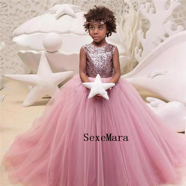 2018 Pink Tulle Flower Girl Dresses Jewel Neck With Bow Sequins Sleeveless Puffy Pageant Gown First Communion Dress stylish jewel neck sleeveless print spliced women s sundress