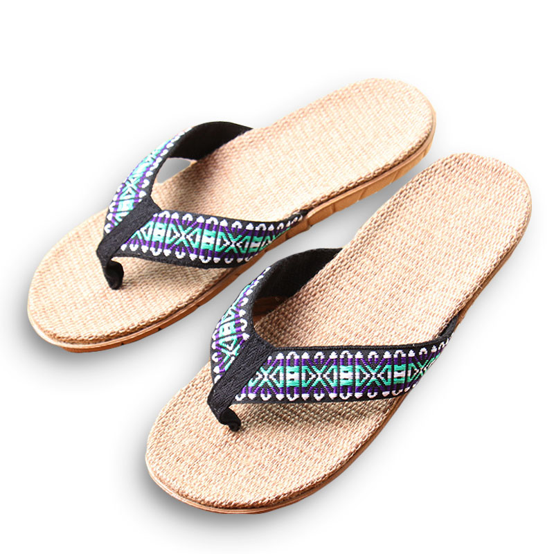 New Summer Linen Men Slippers Ethnic Lattice Fabric Eva Flat Non-Slip Flax Flip Flop Home Slides Man Sandals Straw Beach Shoe