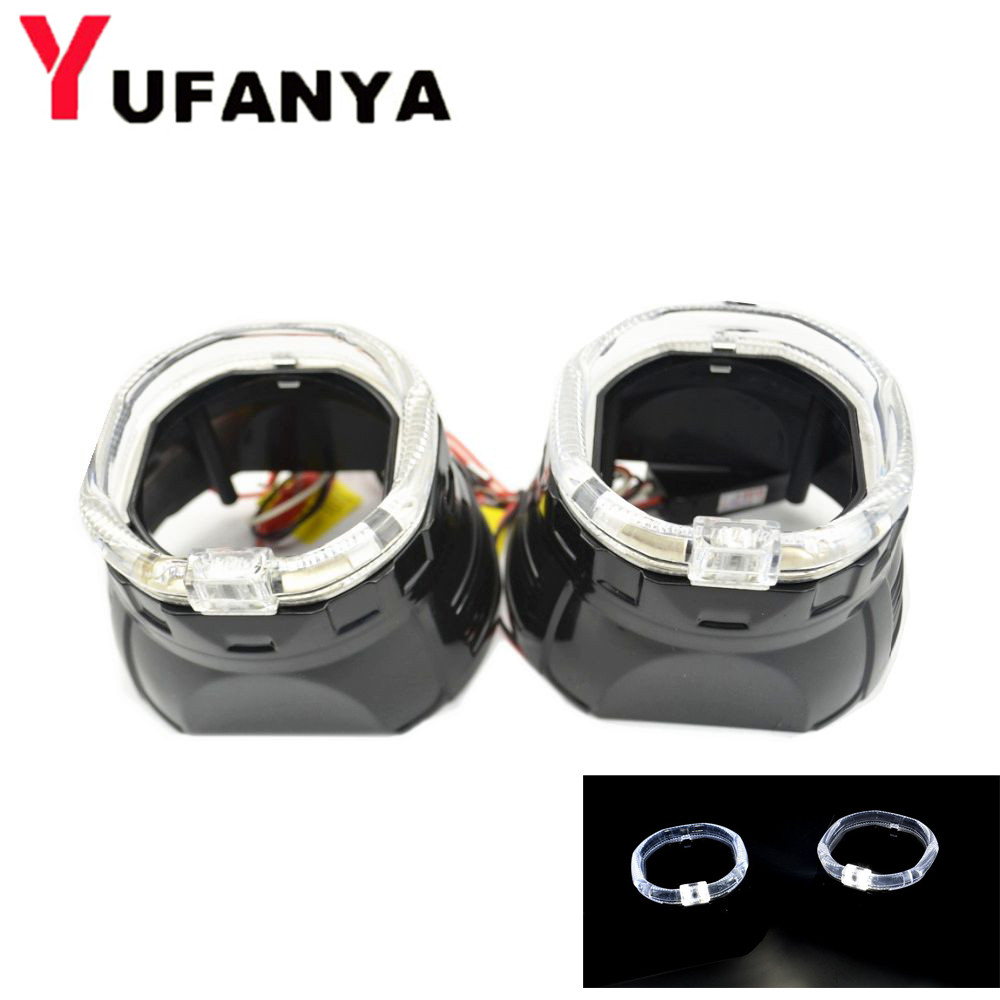 2pcs 2.5 inch led day running angel eyes bixenon hid Projector lens shrouds led mask car led headlight