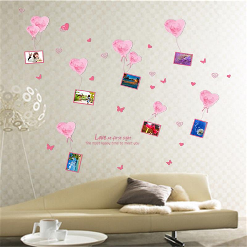 ⊰الوردي القلب إطار الصورة الفينيل ملصقات الحائط للأطفال غرف أطفال