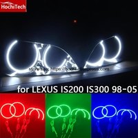 HochiTech RGB Multi Color LED Angel Eyes Halo Rings kit super brightness car styling for LEXUS IS200 IS300 1998 2005