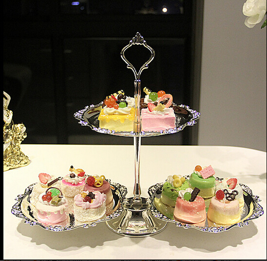 Fashion metal cake pallet silvery stand fruit dessert plate rack decoration display tools baking - Linda's lovely items store