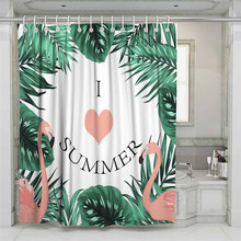 3D Summer Flamingo Beach Shower Curtain Bathroom Waterproof Polyester Printing Curtains for Bathroom Shower цена 2017