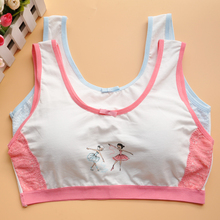 Young girl bra cotton small vest underwearDevelopmental Girls Cotton Bra Training Bra Wire Free Padded Children