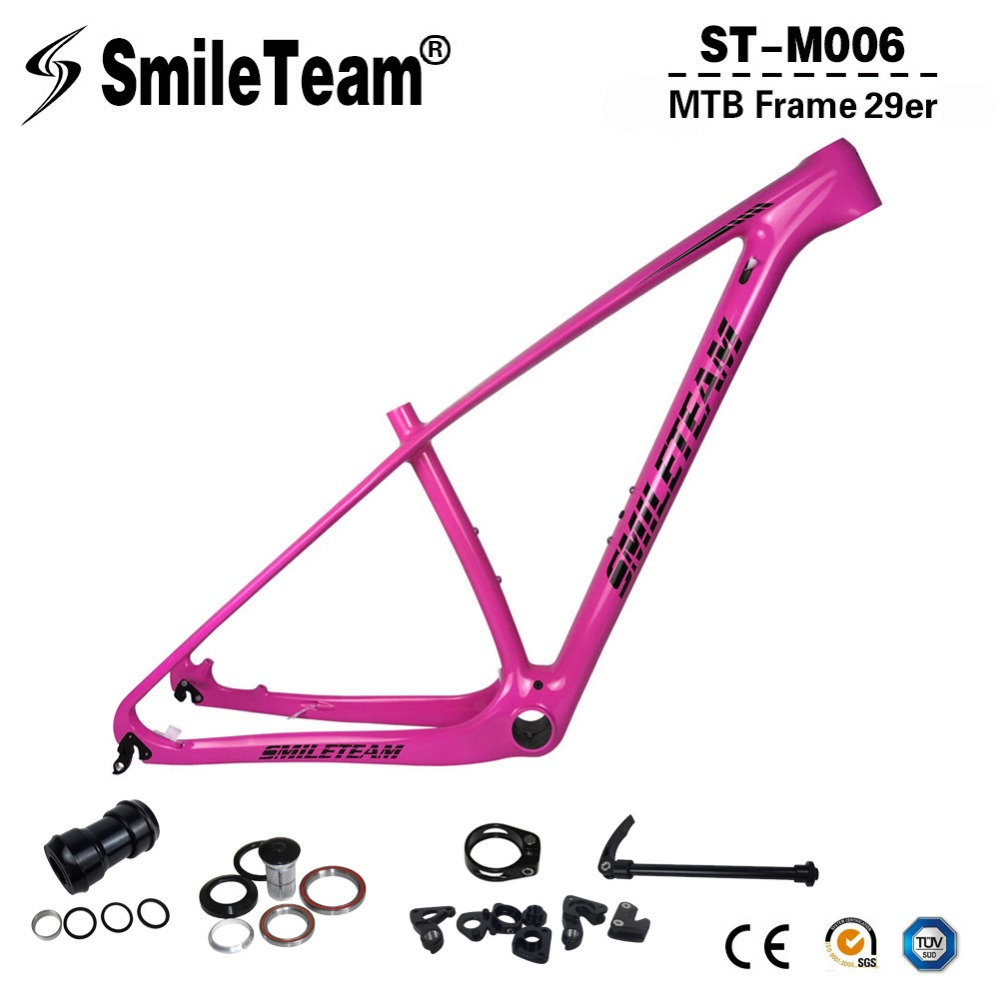 SmileTeam 27.5er 29er Carbon MTB Frame 650B Carbon Mountain Bike Frame UD Glossy 142*12mm Thru Axle 135*9mm QR OEM Bicycle Frame 2017 new design iplay 29 full suspension frame carbon fiber 650b mtb frame 27 5er mountain bike frame ud matt 148 12mm thru axle