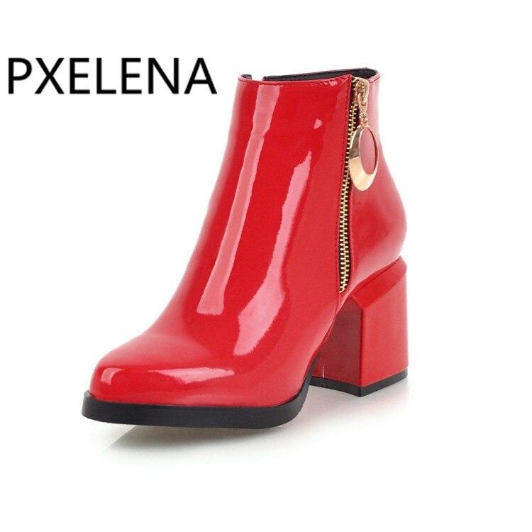 Robe Talons Chaussures Cheville Date Verni 34 Pxelena Carré 2018 Hiver Élégant Bottes or Hauts 43 Cuir argent rouge Noir En Dame À Partie Femmes Bureau zqq7CwF
