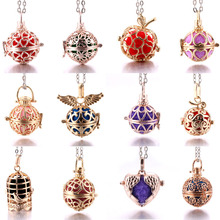 Mexico Chime Music Ball Caller cages Necklace Vintage Pregnancy Necklace for Aromatherapy Essential Oil Pregnant Women mexico chime music bell angel ball caller locket necklace flower pregnancy necklace perfume aromatherapy essential oil necklace