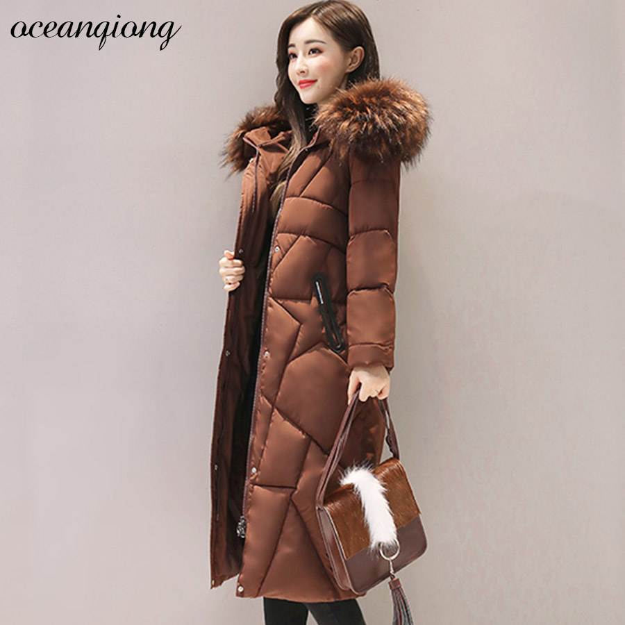 Winter Jackets and Coats Women Parka Thick Womens Padded Jacket Womens Outerwear Slim Warm Fur Hooded Long Down Cotton Parkas winter jacket women 2017 big fur collar hooded cotton coats long thick parkas womens winter warm jackets plus size coats qh0578