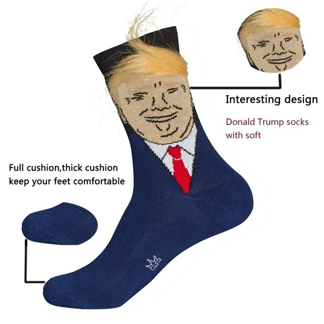 President Donald Trump with Fake Hair Comb Crew Length Socks 1 Pair