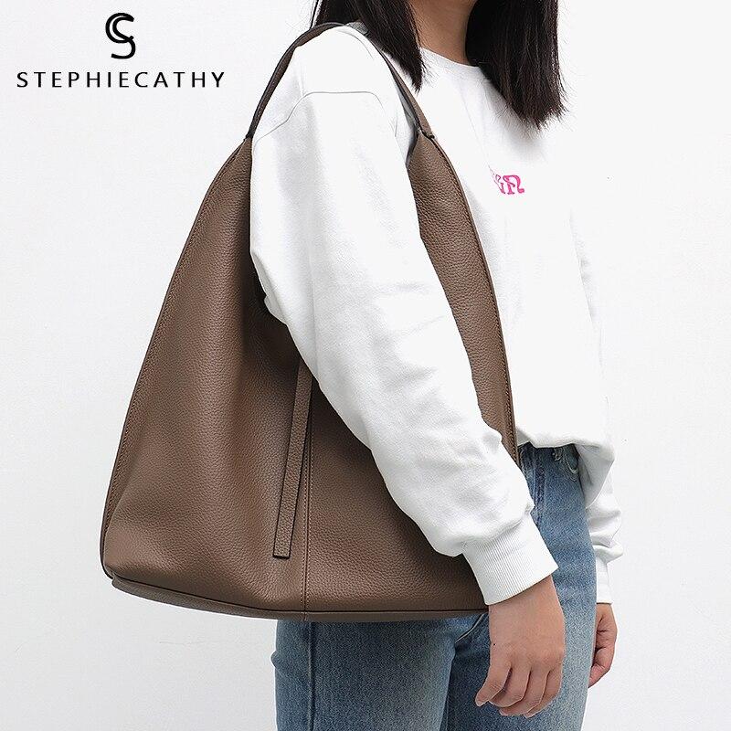 SC ของแท้หนัง Hobo กระเป๋าสตรีขนาดใหญ่กระเป๋าถือสุภาพสตรี Cowhide กระเป๋าสะพายยี่ห้อกระเป๋าถือกระเป๋าถือเหรียญหญิง Bolsa-ใน กระเป๋าสะพายไหล่ จาก สัมภาระและกระเป๋า บน   2