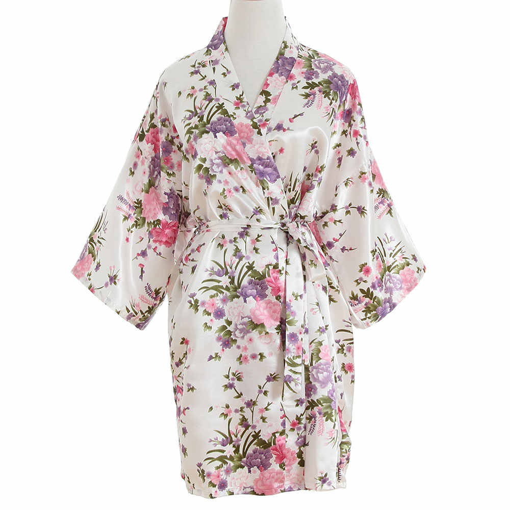 Women Satin Short Nightgown Kimono Robe Sexy Cherry Blossoms Faux Silk  Robes Wedding Bride Bridesmaid Gown e7e1e45ad