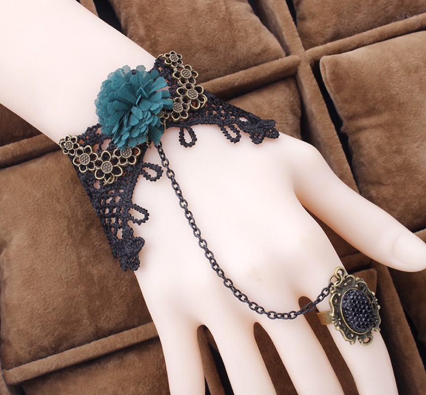 New Arrival Vintage Chiffon Flowers Lace Fingerless Fashion Bracelets With Ring/Bridal Hand Chain 37