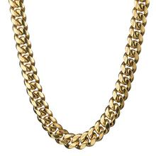 Granny Chic 16mm Cuban Miami Chain Gold Stainless Steel Box Lock Link Chains Bracelets & Necklaces for Men Hip Hop Rock Jewelry