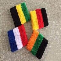 1 Pair 2014 New Cotton Striped Wristband Sport Sweatband Gym Badminton Padel Tennis Wrist Brace Carpal