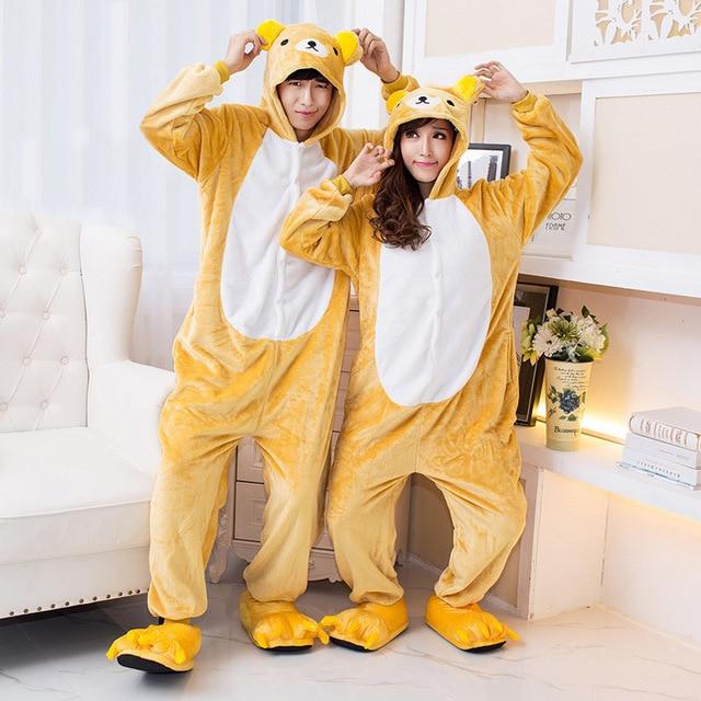 5323a432f848 Kigurumi Halloween Cosplay Costume Adult Rilakkuma Costume Onesies Relax  Bear Pajamas Children Jumpsuit Animal hoodies Sleepwear