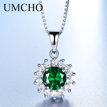 UMCHO Solid 925 Sterling Silver Necklace Created Green Emerald Gemstone Necklaces & Pendants For Women With Box Chain 2018 New