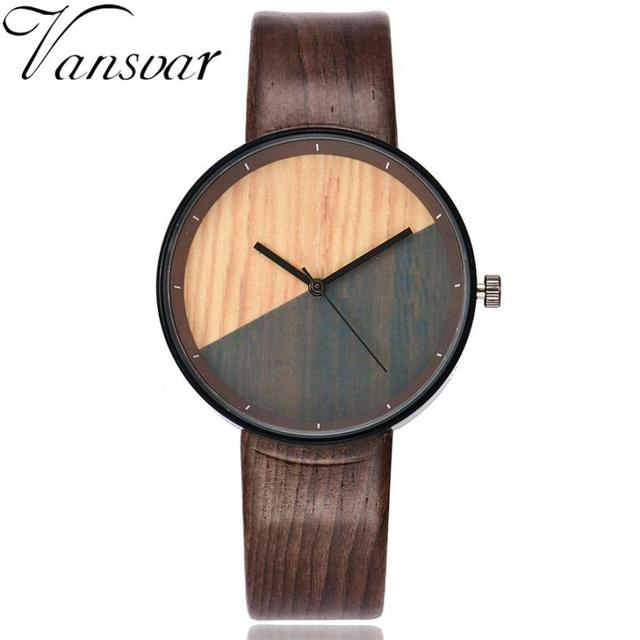 Vansvar  Watches Woman  Wooden Color  Casual   Quartz  Wristwatches  Fashion Luxury Simple  Montre Femme  Watch  18MAR28 5